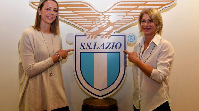 SS Lazio second team coach Nicola Williams and SS Lazio women team coach Carolina Morace pose alongside team crest.