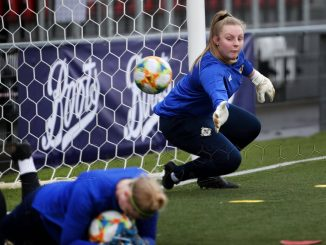 Lauren Perry during goalkeeping training.