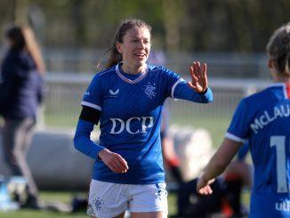 Lizzie Arnot celebrates her goal.