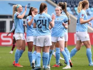 Manchester City celebrate.