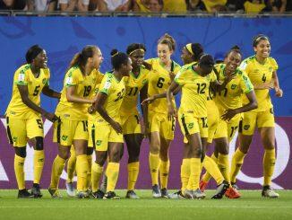 Jamaica celebrate Havana Solaun's goal.