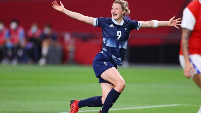 Ellen White of Team GB celebrates after scoring.