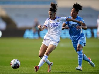 Manchester City's Demi Stokes and Real Madrid's Esther Gonzalez.