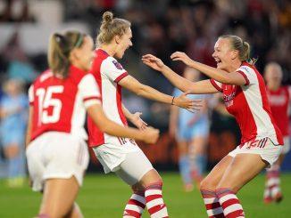 Vivianne Miedema celebrates scoring.