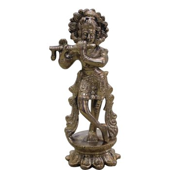 Lord Krishna Antique Idol Playing Flute