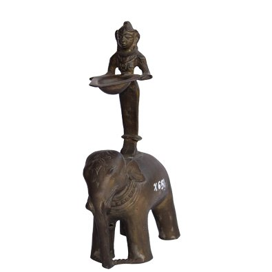 Elephant Oil Lamp Antique Dining Lamp in Bronze Metal