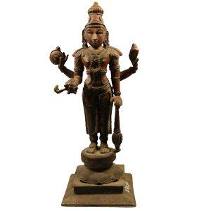 Antique Vishnu Deity Copper Idol by Chola Dynasty