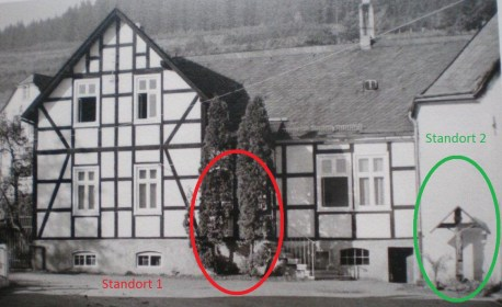 Bild 6: Missionskreuz an der alten Vikarie um 1960 an seinem zweiten Standort