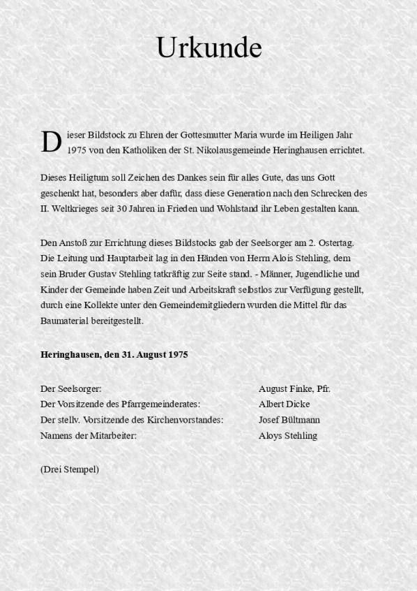 Bild 3 - Urkunde zur Einweihung