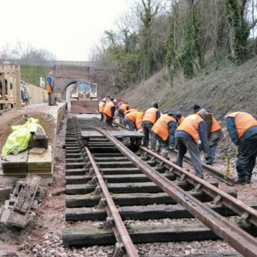 Moving the last rails into place at Mountsorrel Station