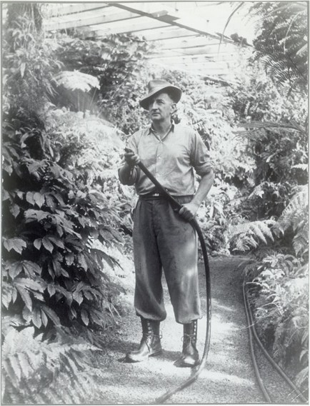 George Snow, gardener at Jubilee Park, Normandale, c1948 (http://bit.ly/2yUlROY)