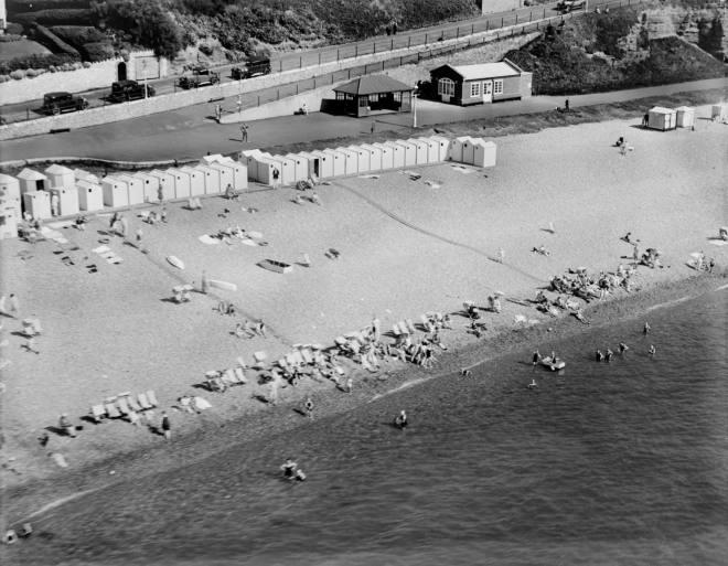 Beach huts at bottom of Coastguard Hill, Budleigh Salterton, 1928 © English Heritage