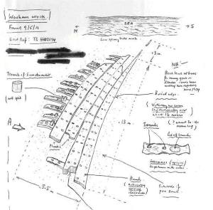 Sketch of the wreck uncovered at Waxham, Norfolk, in situ in May 2013, by kind permission of the finder and the Receiver of Wreck