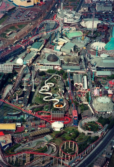 An aerial photograph of Blackpool Pleasure Beach