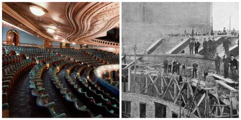 The fully-cantilevered dress-circle of the London Coliseum (1902-04), and the innovatory steel-structure that made this possible (with employees of steelwork contractors Richard Moreland and Son posing for the camera)