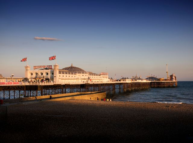 Buildings of England, Brighton and Hove. Palace Pier, Brighton, East Sussex. General view of Palace Pier.