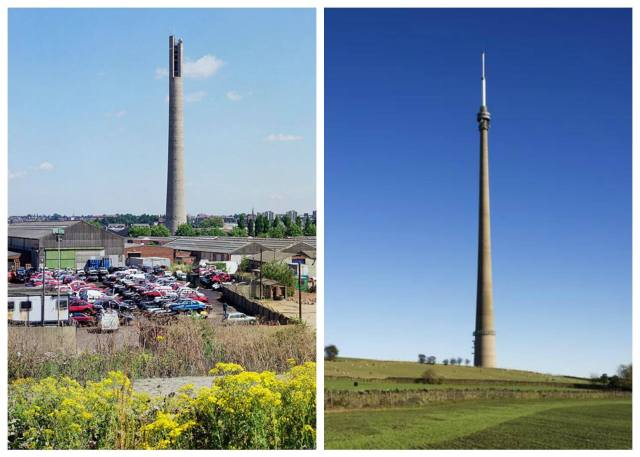 L: The Express Lift Tower in Northampton, 127m; R: The Arqiva Tower at Emley Moor in Kirklees, 330m © both Historic England Archive