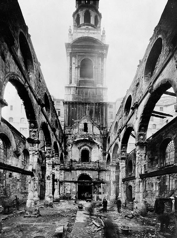 St Bride's Church after bombing