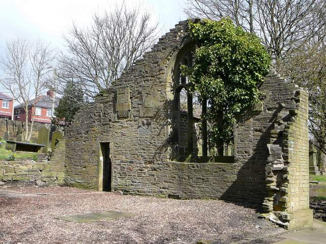 Ruins of Chapel of St James, Old Bell Chapel, Bradford, listed Grade II. The Rev Patrick Brontë was curate of the chapel from 1815 to 1820 when the family moved to Haworth. (c) Tim Green via Flickr
