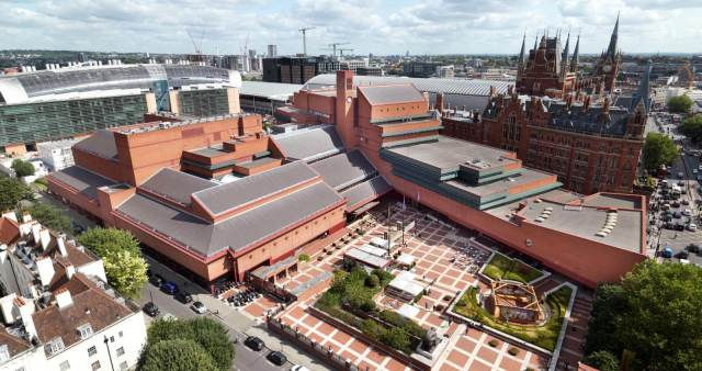 Aerial exterior of the British Library in London, with St Pancras International Station in the background