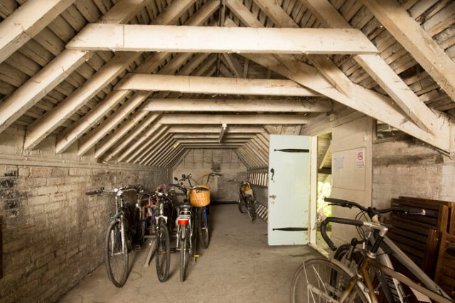 Waterlow Court interior with bicycles lined up