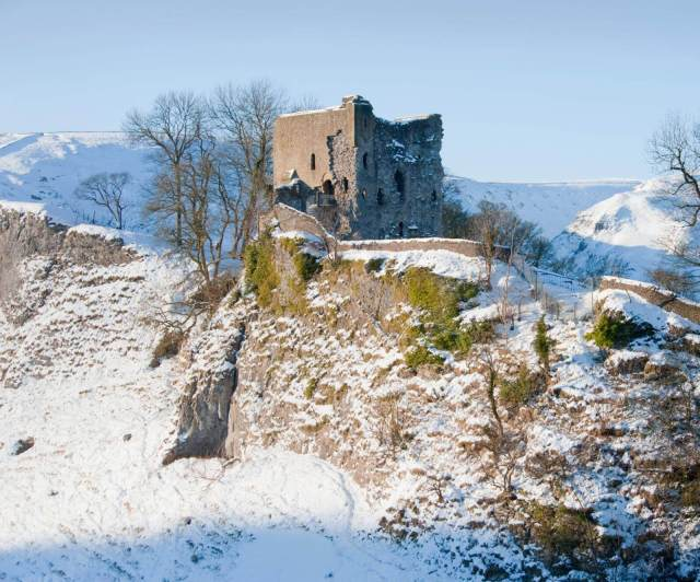 Peveril Castle in snow,Castleton, Derbyshire.