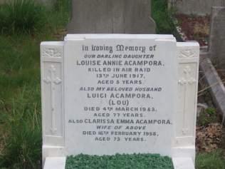 Louise Acampora's grave after recent restoration © Stan Kaye.