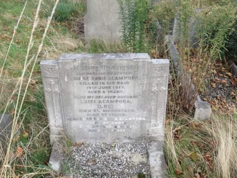 Louise Acampora's grave before recent restoration © Stan Kaye.