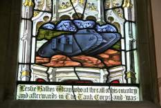 Detail of stained glass window at All Saints church, Nocton, Lincolnshire dedicated to Leslie Halkes Wray of the Tank Corps, killed at the Battle of Cambrai. The window was erected by his parents in 1918. Image © Rex Gregson