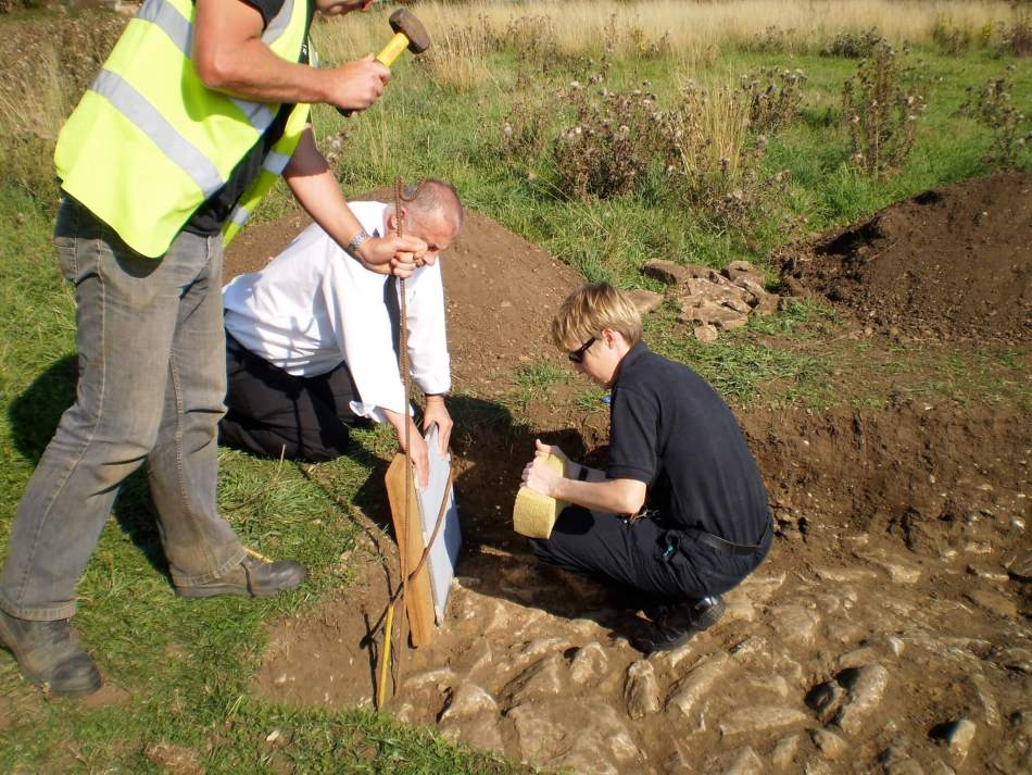 Scenes of Crime Officer gathering forensic evidence from a Roman site