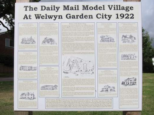 An informative plaque detailing the history of Welwyn Garden City