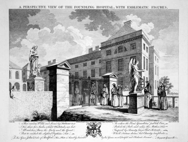 Copy of an engraving of 1749 showing a queue of women with babies outside the gates of the Foundling Hospital in Camden C Histroric England CC81_00043