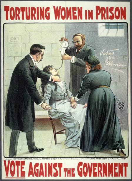 Suffragette-force-fed poster dates 1913 via wikipedia