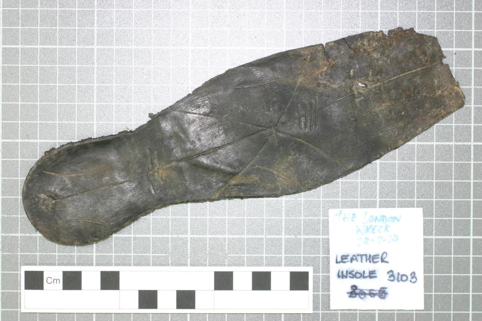 Personal items such as shoes really help illustrate the human side of the London wreck story. (c) Historic England