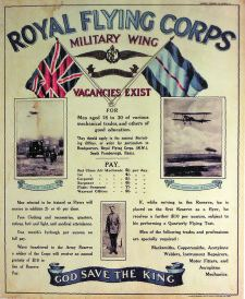 RFC recruitment poster from 1913 © IWM PST 0553. Hamilton and Wyness typified the new RFC - founded only 6 months earlier: men who had trained themselves in aviation, transferred to the RFC from Army regiments, and who died as a result of a common cause in the early days of flight - engine trouble. The memorial is an important reminder of how untested the new science of aviation was prior to the outbreak of the First World War.