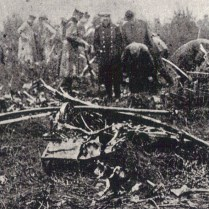 The remains of German airship SL11. Image © Derek Revell. It was the first successful destruction of an airship over Britain and Leefe Robinson was awarded the Victoria Cross. The airship wreckage was rapidly scavanged by souvenir hunters who wanted a memento of his outstanding feat.