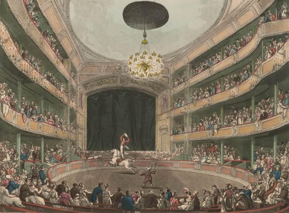 Astley's Amphitheatre in London 1808 (public domain) via wikipedia