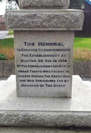 Barton-on-Sea memorial, Hampshire. Inscription detail