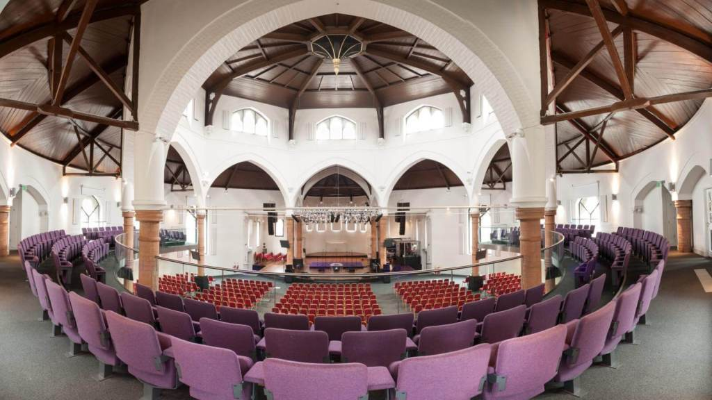 St George's (now House on the Rock) church, Tufnell Park, London. Interior, gallery level, view from west.