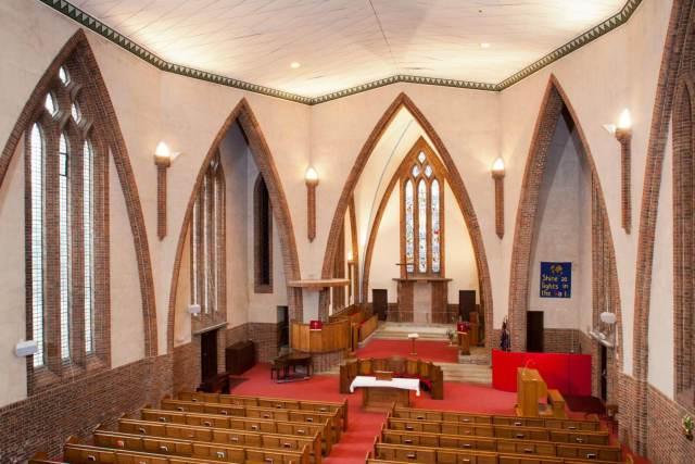 Baptist Church, Cheam Road, Sutton, Surrey. Interior view from north west.