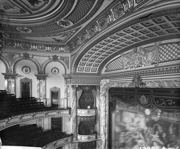 Her Majesty's Theatre, Haymarket in 1897 looking across to the top of the proscenium arch and to the boxes