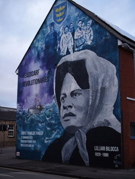 A mural to Lilian Bilocca in Hull reads 'Headscarf Revolutionaries' 'Lillian Bilocca 1929 -1988