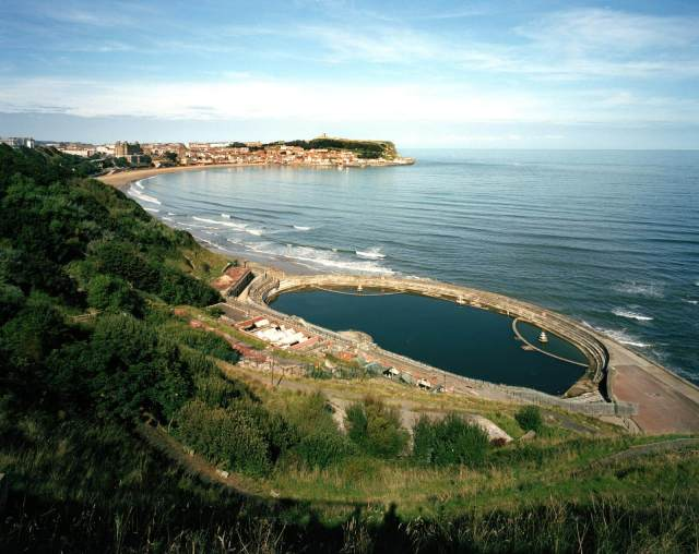 Scarborough Lido aerial view and view across the bay