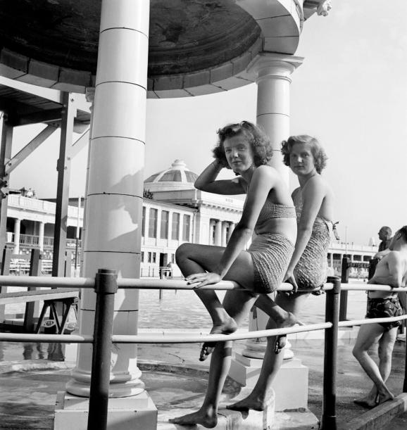 Two young women at Blackpool Lido, Lancashire. Image by John Gay 1946-1955 c Historic England AA047938