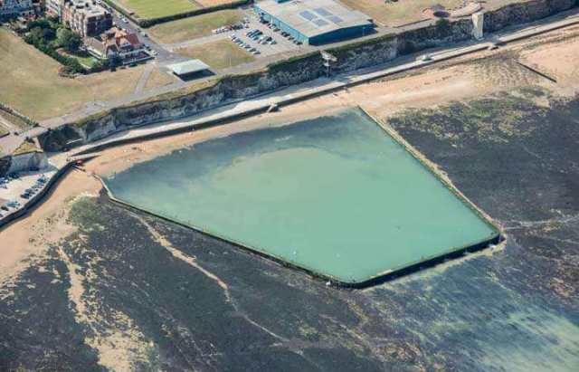 Aerial view of the tidal swimming pool at Walpole Bay
