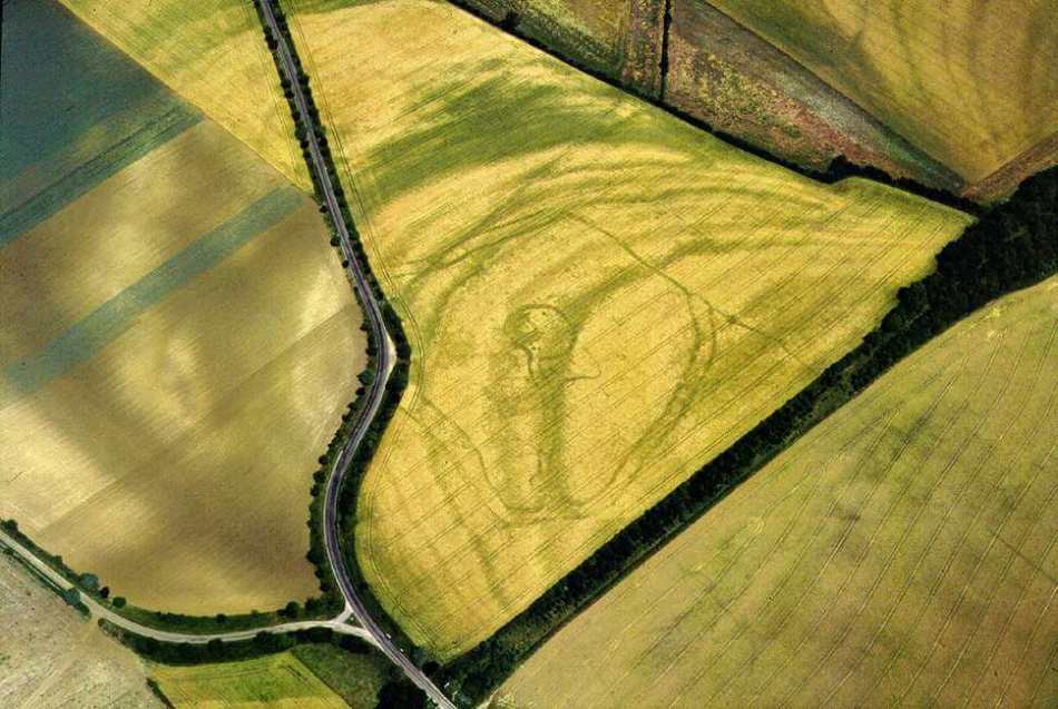 Aerial view of an Iron age Banjo enclosure, Rollright, Oxfordshire