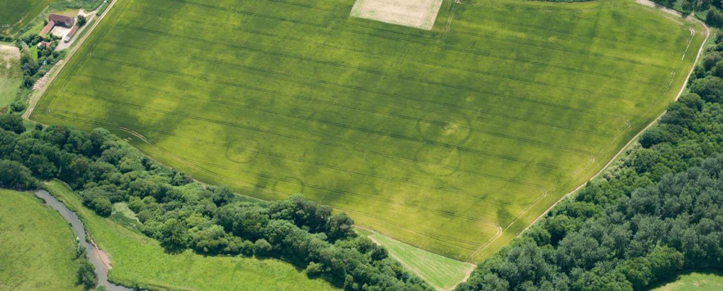 Aerial view of cropmarks - Bronze Age barrow cemetery in Fittleworth, West Sussex.