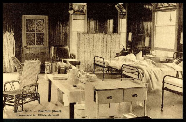 A military hospital ward with German POW officers recovering in beds