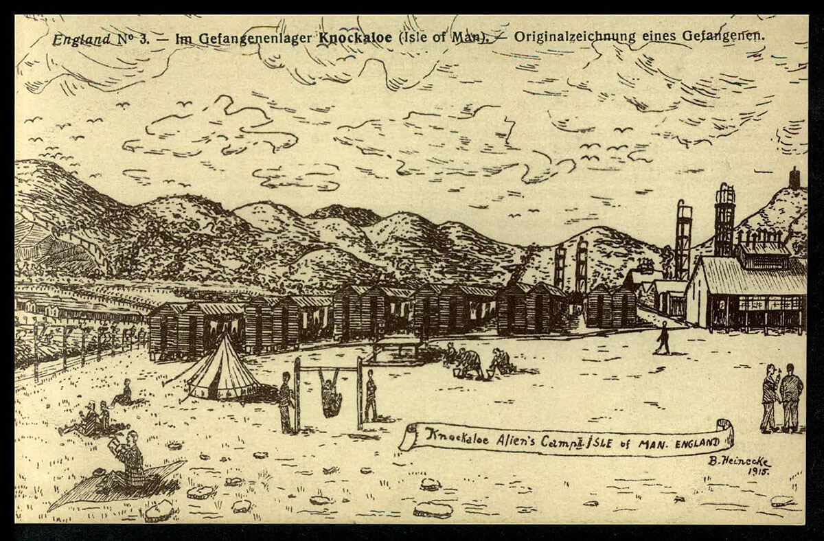 A drawing of Knockaloe internment camp featuring hills, huts and people