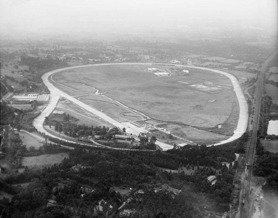 Aerial view of Brooklands Motor Course and airfield